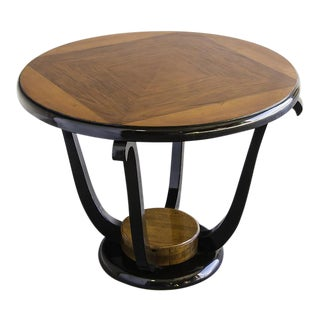 Vintage French Art Deco Period Burl Walnut, Ebonized Timber Table circa 1930