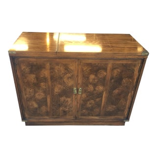 Mid-Century Burl Wood Bar With Folding Counter