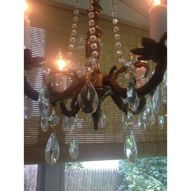 Petite Brass and Crystal 4 Light Chandelier - Image 5 of 7