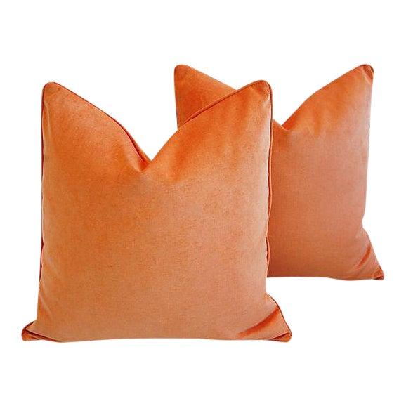"24"" Custom Tailored Chic Tangerine Orange Velvet Feather/Down Pillows - Pair - Image 1 of 6"