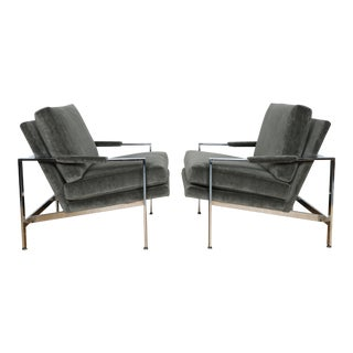 Milo Baughman Lounge Chrome Chairs - a Pair