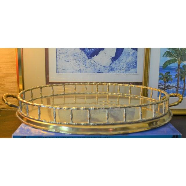 Hollywood Regency Brass Bamboo Tray - Image 6 of 6