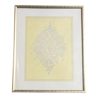 Yellow & Silver Damask Wall Art #1 by Iconic Pineapple