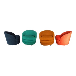 Four as Found Barrel Back Lounge Chairs on Casters
