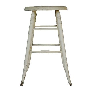 Vintage Farm Stool Rustic White
