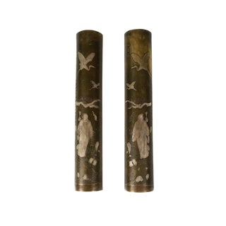 19th Century Japanese Mixed Metal Scroll Weights - a Pair