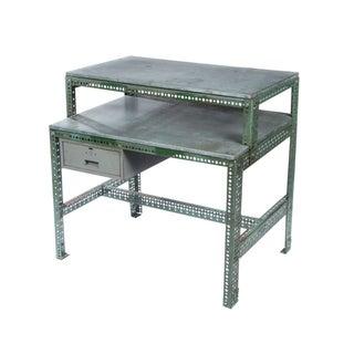 Vintage Industrial Steel Desk in Green