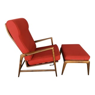 Red Kofod Larsen for Selig Recliner & Ottoman