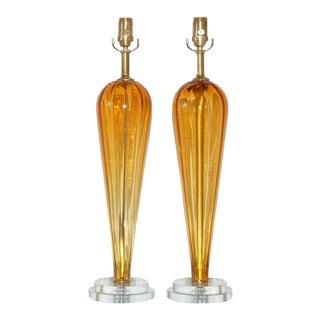 Butterscotch Murano Teardrop Lamps