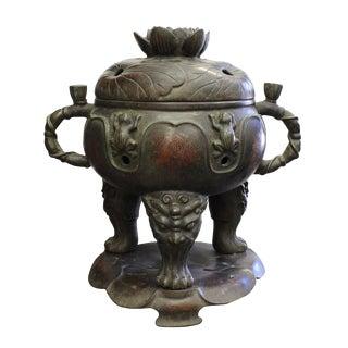 Vintage Chinese Lotus Theme Metal Ding Shape Incense Burner