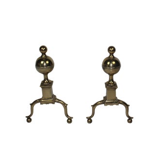 19th-C English Andirons - A Pair