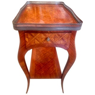19th Century Bronze Galleried Marquetry Side Table
