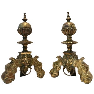 Antique Brass Lion Door Knocker Andirons - A Pair