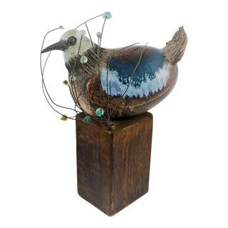 Rosemary Laughlin Bashor Ceramic Bird Sculpture on Wood Perch