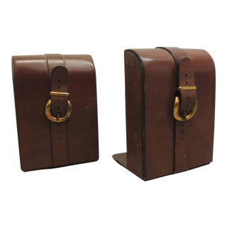 Pair of vintage leather bookends in the Hermés equestrian style