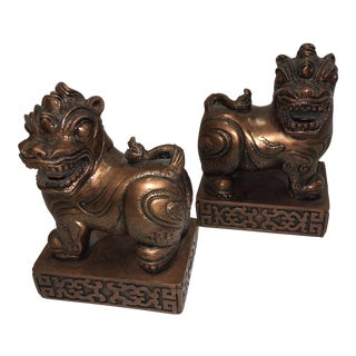 Copper Tone Cast Chinese Foo Dogs Bookends - A Pair
