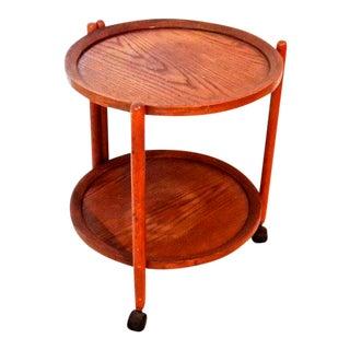 Vintage Tray Top Folding Teak Tea Cart
