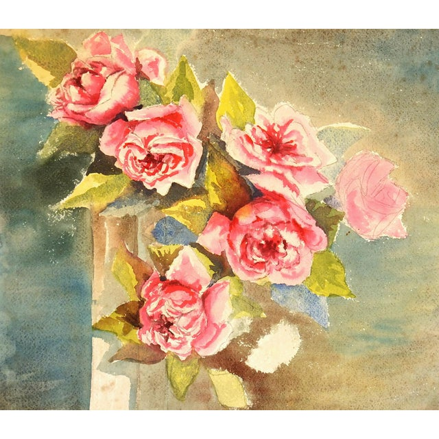 1950 Vintage Rose Arrangement Watercolor Painting - Image 1 of 3