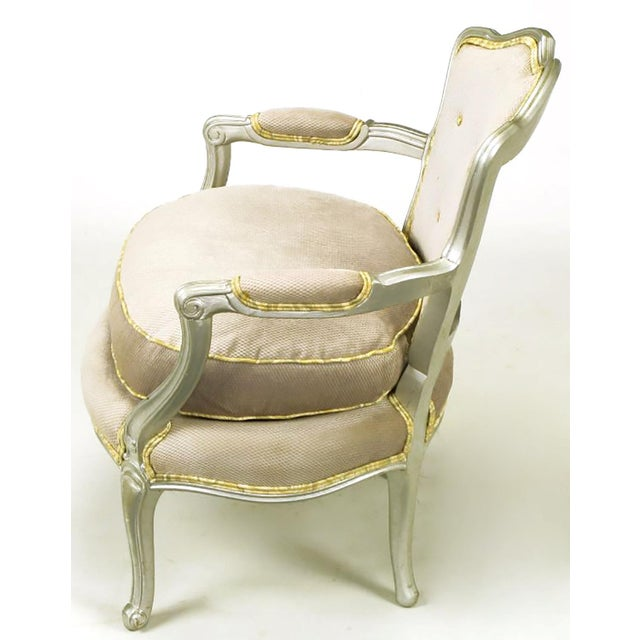 Pair of Silver Lacquer Button Tufted Velvet Louis XV Fauteuils - Image 5 of 7