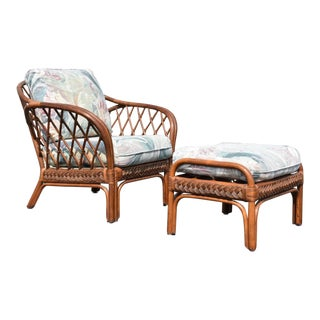 Vintage Bamboo Lounge Chair and Ottoman