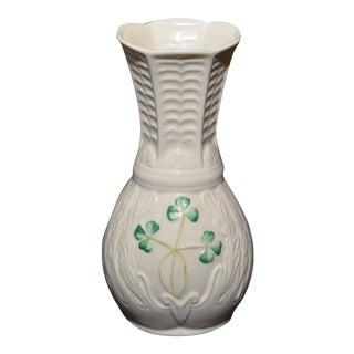 Belleek Ireland Shamrock Spill Vase
