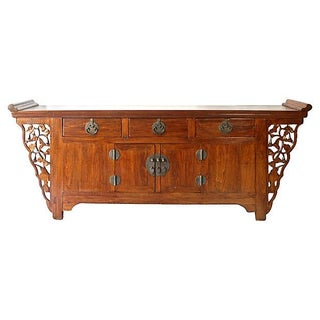 Chinese Handcrafted Elm Altar-Style Sideboard
