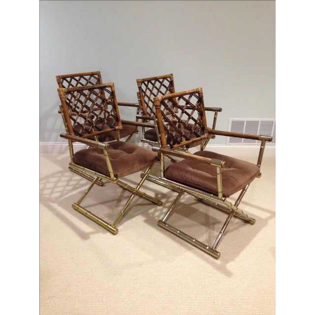 Faux Bamboo Brass & Rattan Chairs - Set of 4 - Image 3 of 6
