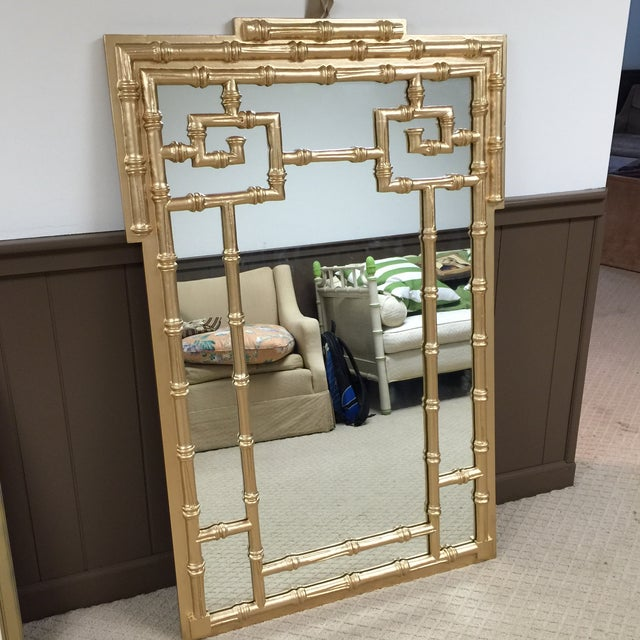 Labarge Gold Leaf Faux Bamboo Mirror - Image 3 of 5