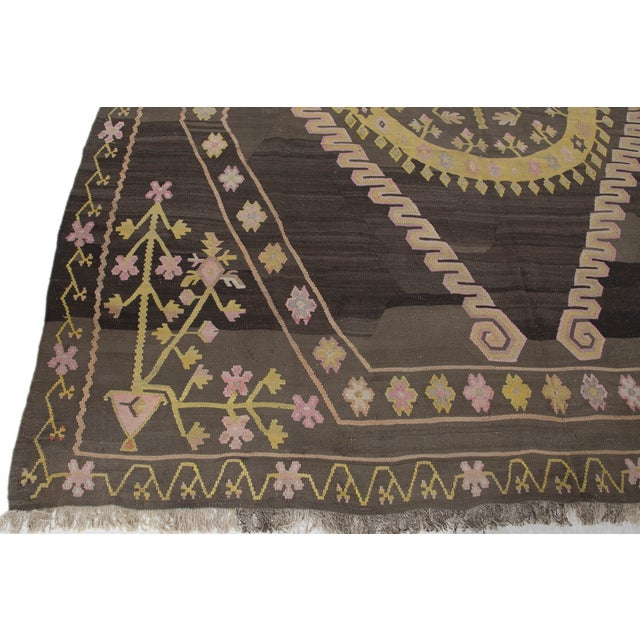 Turkish Primitive Large Kilim Rug - 9′7″ × 10′5″ - Image 6 of 10