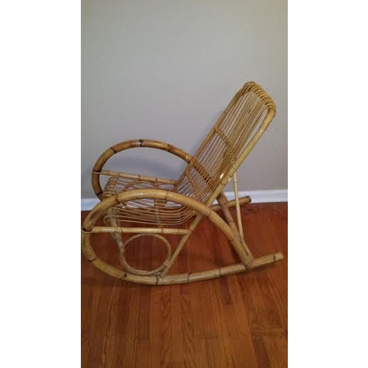 Franco Albini Style Rattan Rocking Chair - Image 4 of 5