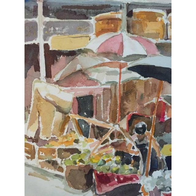 Thelma Moody Gouache Farmer's Market Painting - Image 6 of 7