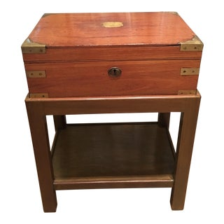 Antique Campaign Chest Box on Stand Table