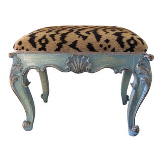 Antique Bench/Stool Italian With Leopard Upholstery