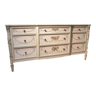 Julia Gray Floral Nine-Drawer Dresser
