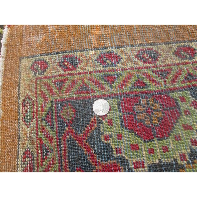 Antique Persian Orange/Green Oushak Style Rug - Image 6 of 9