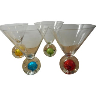 Mid-Century Multi-Color Martini Glasses - Set of 4
