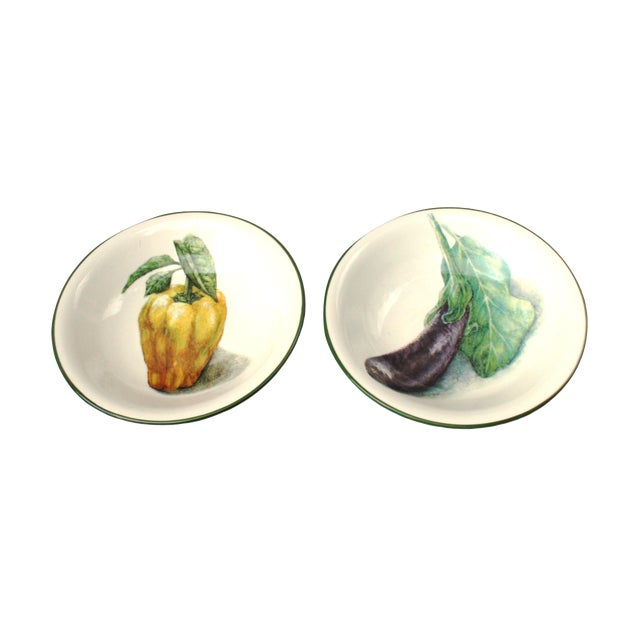 Handpainted Italian Vegetable Bowls - A Pair - Image 1 of 4