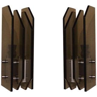 Fontana Arte Style Italian Modern Wall Sconces - Pair