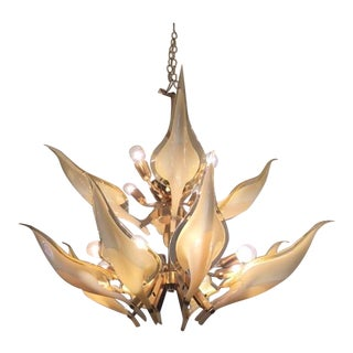 Tiered Amber Murano Calla Lily Chandelier