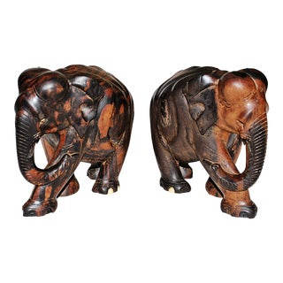 Indian Carved Elephants - A Pair