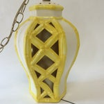 Image of Vintage Yellow Bamboo Pendant Hanging Light