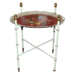 Antique Tole Painted Tray Table