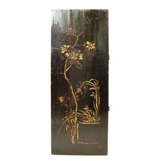 Vintage Restored Flower Carving Wood Panel