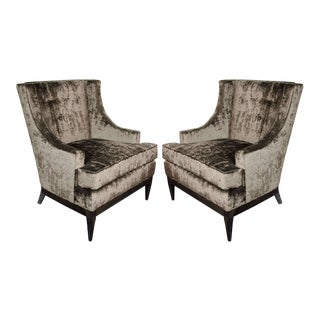 Sophisticated Pair of Mid-Century Modernist High Back Sleigh Design Chairs