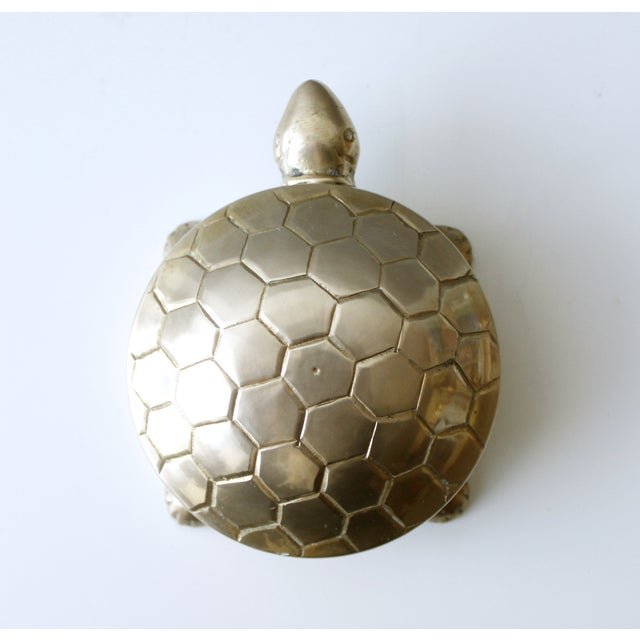 Image of Vintage Mid Century Brass Turtle Trinket Box Dish