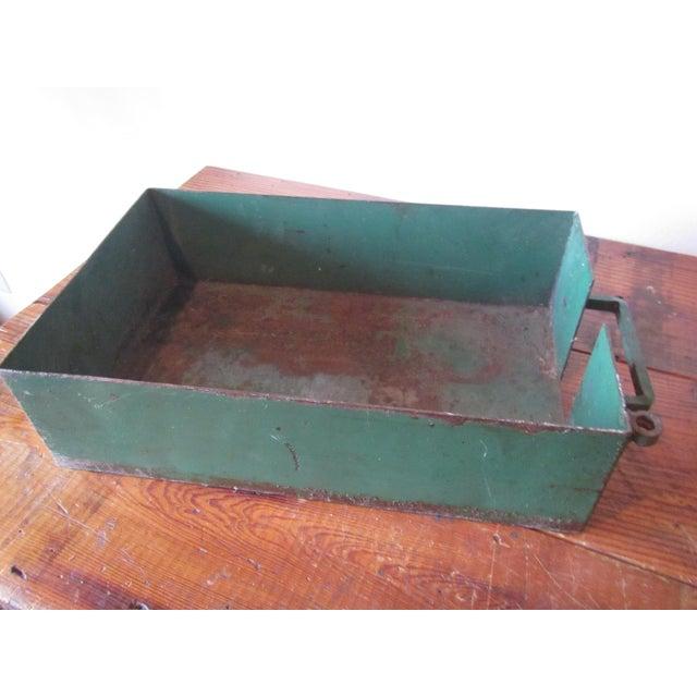 Vintage Industrial Green Painted Steel Drawer Bin Firewood Holder - Image 2 of 8