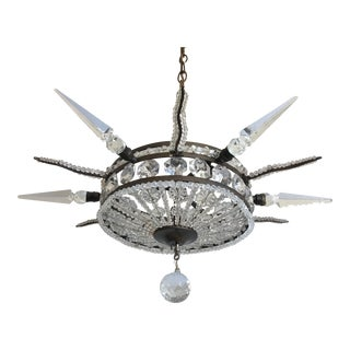 French Crystal Star Pendant Light
