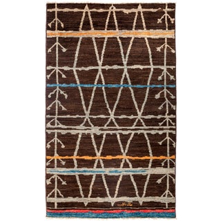 """New Moroccan Hand Knotted Area Rug - 4'10"""" x 8'"""