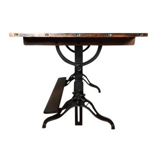 Large Antique Cast Iron & Wood Drafting Table, 1910s - 1920s