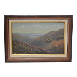 Vintage Rolling Hills Landscape Oil Painting Circa 1920